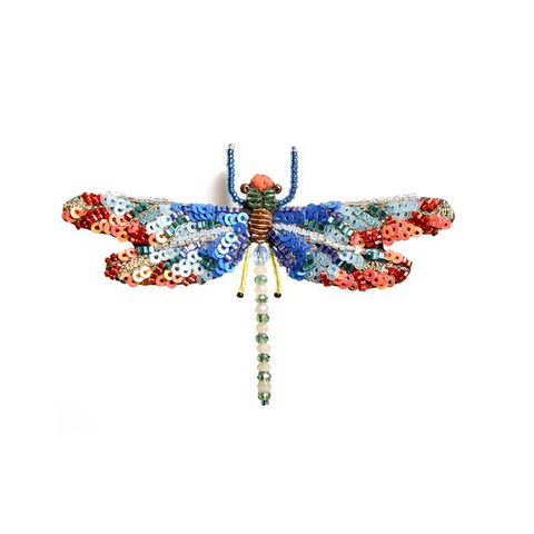 Sunrise Dragonfly Embroidered Brooch