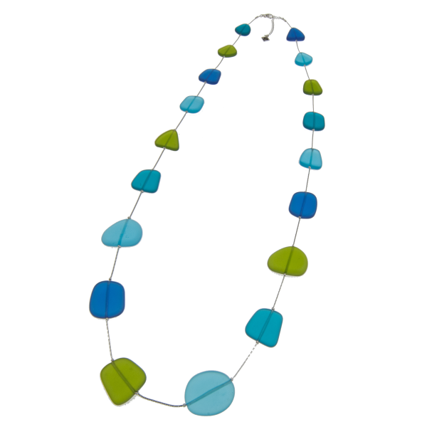 Frosted Recycled Glass Long Necklace