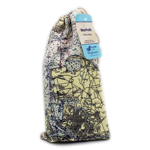 Canvas Wine Tote: Norfolk Nautical Chart