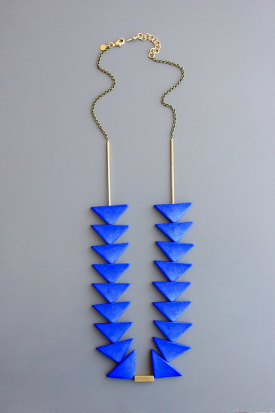 Blue Triangles Necklace