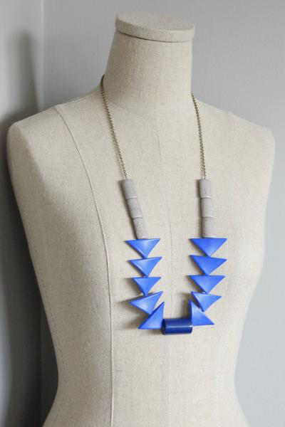 Blue Triangles with Brass and Magnesite Necklace