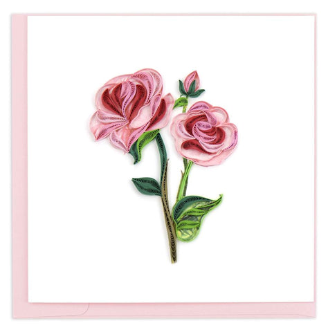 Quilled Pink Roses Blank Card