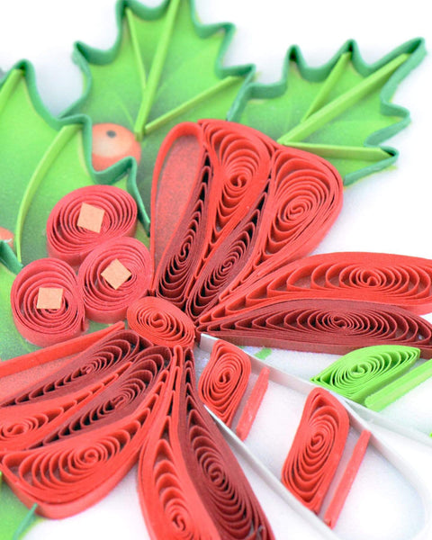"Quilled Candy Canes ""Happy Holidays"" Card"