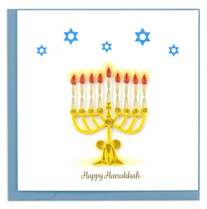 "Quilled Menorah ""Happy Hanukkah"" Holiday Card"