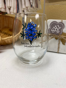 Bluebonnets Wine Glass