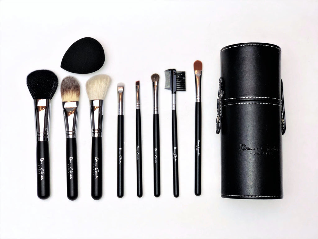 8 Piece Makeup Brush Set with Leather Case PLUS Bonus Applicator Sponge