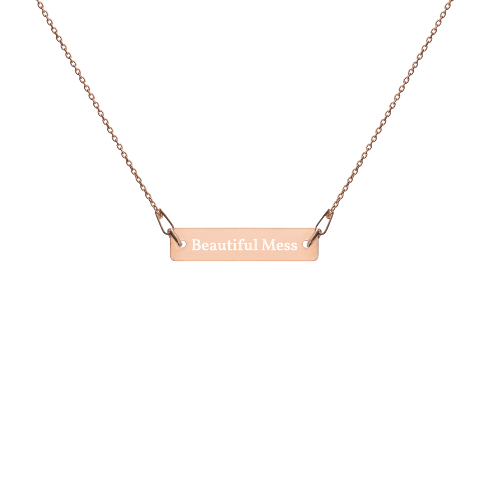 Beautiful Mess Engraved Silver Bar Chain Necklace - Customizable