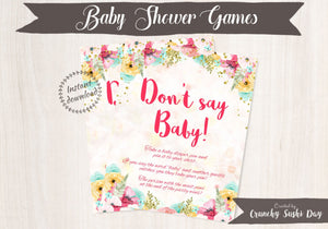 Printable Baby Shower Games, Don't Say Baby, Floral, Baby Shower, Party Printables, Baby Shower Decorations, Teal, Pink 001