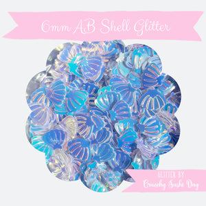 5 grams -6mm Blue AB White Glitter Shells, Pastel Glitter, Glitter, Pink, Purple, Blue, Glitter Confetti, Confetti, Kawaii, Resin Glitter