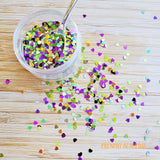 5 grams - 3mm Halloween Heart Mix Glitter, Holographic Glitter, Glitter, Silver, Green, Purple, Black, Orange Confetti, Resin Glitter
