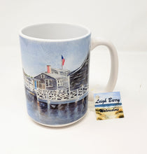 Load image into Gallery viewer, Nantucket Harbor Coffee Mug Camp Mug Cape Cod Mug  Painting Cape Cod Art Watercolor Mug - Leigh Barry Watercolors