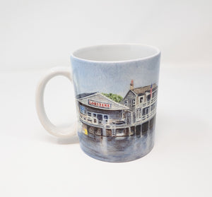 Nantucket Harbor Coffee Mug Camp Mug Cape Cod Mug  Painting Cape Cod Art Watercolor Mug - Leigh Barry Watercolors
