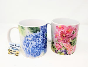 Floral Mug Set, floral stoneware coffee mugs - Leigh Barry Watercolors