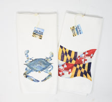 Load image into Gallery viewer, Maryland Tea Towels Set of 2, Blue Crab and Maryland State Flag - Leigh Barry Watercolors