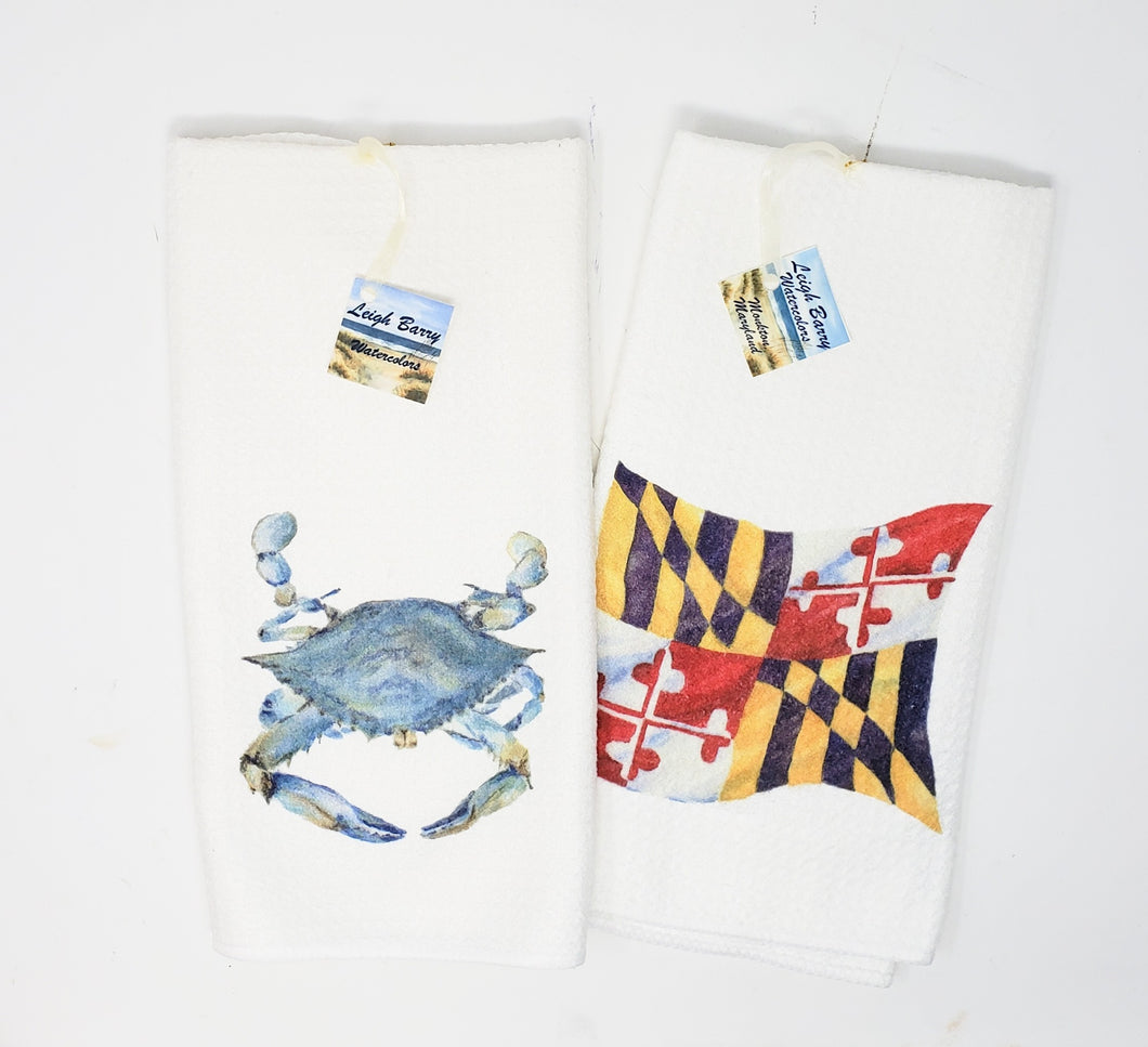 Maryland Tea Towels Set of 2, Blue Crab and Maryland State Flag - Leigh Barry Watercolors