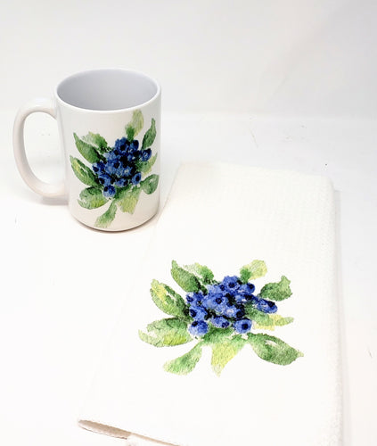 Blueberries  Mug and Tea Towel - Leigh Barry Watercolors