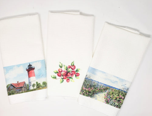 Cape Cod Tea Towel Set of 3 - Leigh Barry Watercolors