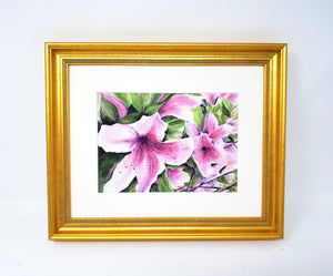 Pink Azaleas: Watercolor giclee print or original painting, floral watercolor art, pink floral art, framed wall art, azalea painting, - Leigh Barry Watercolors