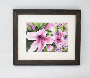 Pink Azaleas: Watercolor giclee print or original painting, floral watercolor art, pink floral art, framed wall art, azalea painting,