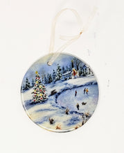Load image into Gallery viewer, Winter Skating Christmas Ornament Winter Skating Ceramic Ornament gift Christmas small gift for mom - Leigh Barry Watercolors
