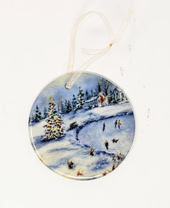 Winter Skating Christmas Ornament Winter Skating Ceramic Ornament gift Christmas small gift for mom - Leigh Barry Watercolors