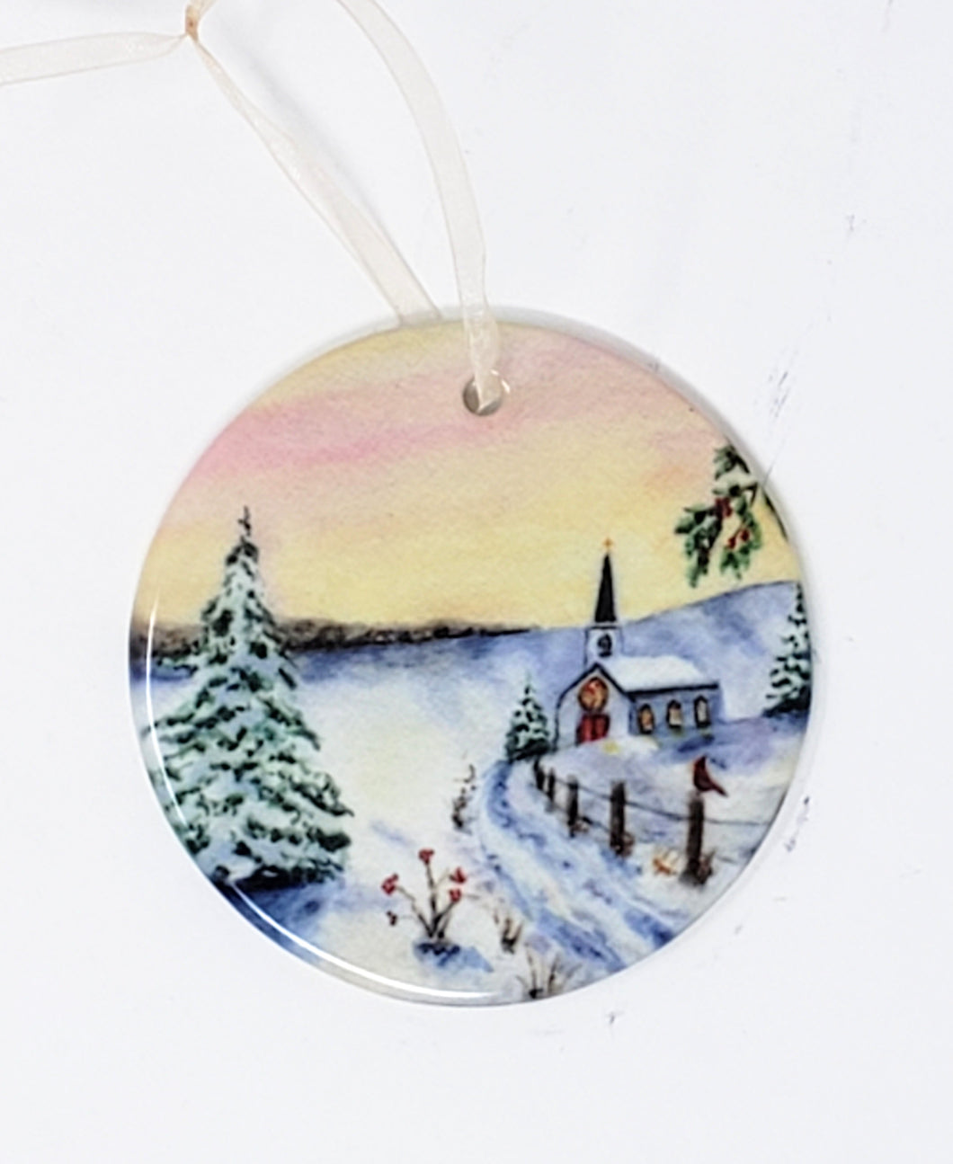 Christmas Ornament, Ceramic Christmas Ornaments  small Christmas gift  small gift for mom - Leigh Barry Watercolors