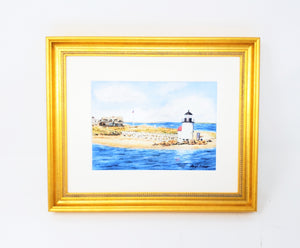 Brant Point Light: Nantucket Lighthouse, Nantucket Watercolor Print Or Original Painting Giclee Print art Cape Cod coastal print - Leigh Barry Watercolors