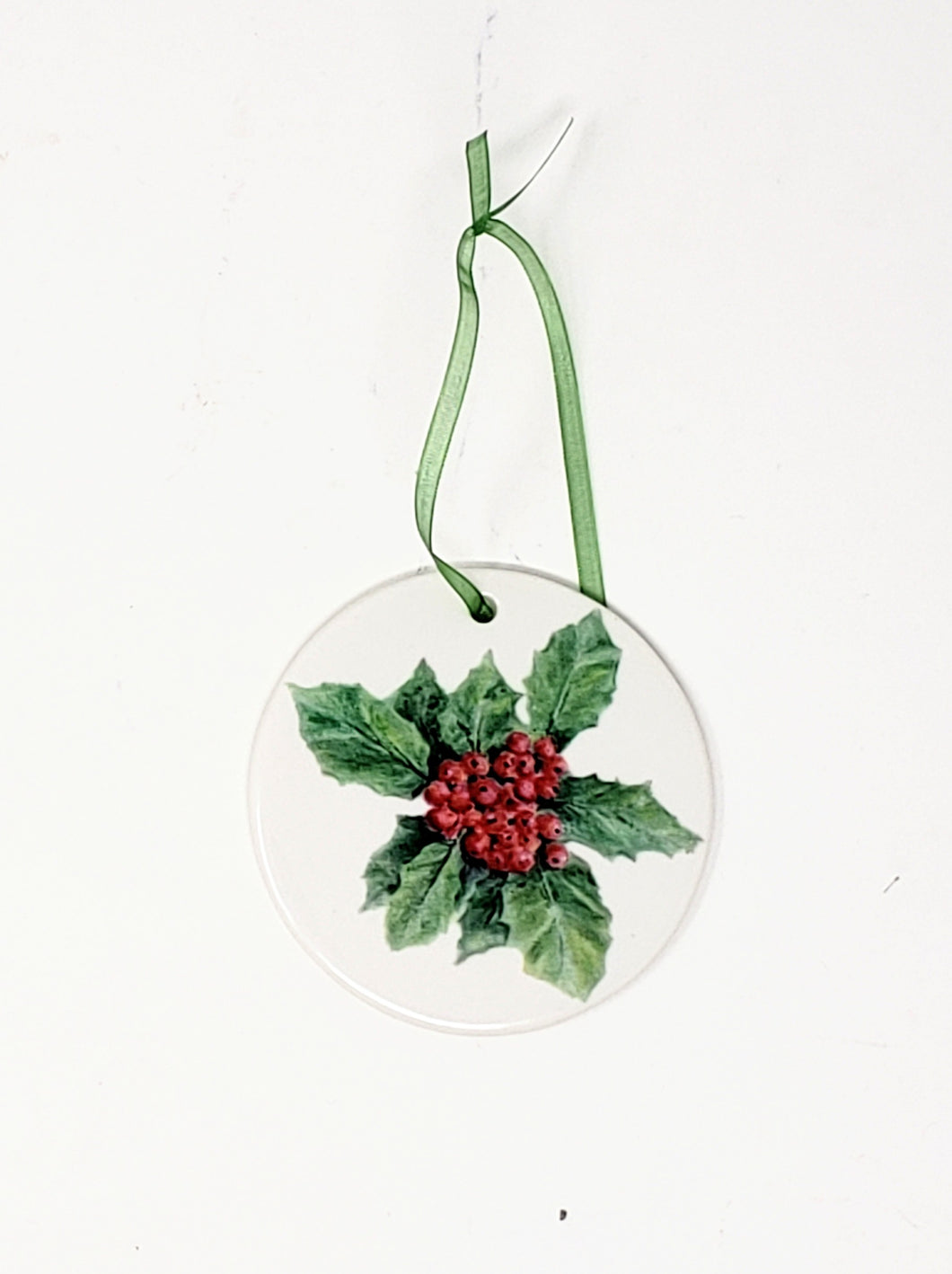 Holly Christmas Ornament, Porcelain Christmas Ornaments, small Christmas gift,  small gift for mom, stocking stuffer, holly art - Leigh Barry Watercolors