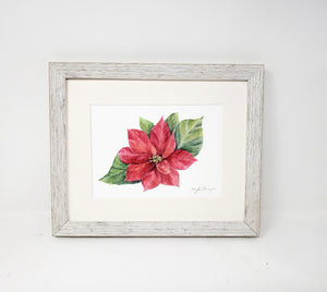 Poinsettia, original or fine art print, holiday decor, holiday art, framed poinsettia - Leigh Barry Watercolors