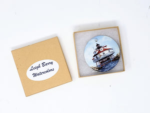 Thomas Point Lighthouse Christmas Ornament, Maryland Ornaments, Chesapeake Bay ornament, Maryland gift, Lighthouse gift, Christmas gift for dad, small gift for mom - Leigh Barry Watercolors