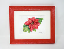 Load image into Gallery viewer, Poinsettia, original or fine art print, holiday decor, holiday art, framed poinsettia - Leigh Barry Watercolors