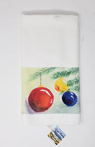 """Christmas Balls"" Tea Towel: Winter Tea Towel, Christmas Towel, Christmas Gift, Christmas Ornament Art, Christmas Tree Towel"