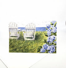 Load image into Gallery viewer, Nantucket Seaside, Watercolor notecards, Hydrangea Watercolor, Cape Cod Coastal Notecards, Blank notecards, watercolor notecards note card