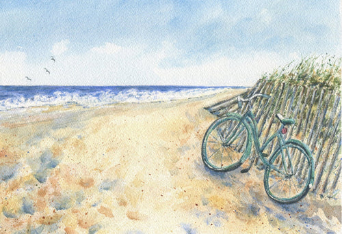 Bicycle beach painting ocean painting beach watercolor print Leigh Barry Watercolors bicycle print seashore print framed art bike painting - Leigh Barry Watercolors