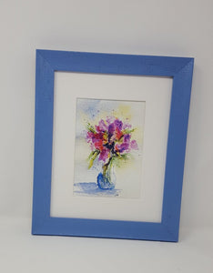 Purple Bouquet:watercolor floral painting purple flowers framed art giclee print archival home decor wall decor bathroom decor - Leigh Barry Watercolors