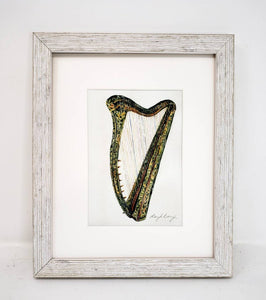 Irish Harp watercolor painting prints or original Irish painting Celtic harp art Celtic harp framed print Irish watercolor Celtic gift music - Leigh Barry Watercolors