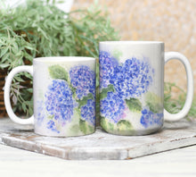 Load image into Gallery viewer, Hydrangea Mug Hydrangeas Watercolor Coffee Mug Hydrangeas latte mug camp mug metal campercup blue flower decor hydrangeas art hydrangea - Leigh Barry Watercolors