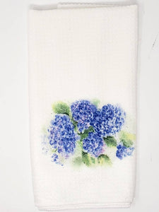 Hydrangeas Tea Towel Hydrangeas Painting decor Hydrangea Kitchen decor blue home decor hydrangeas dish towels blue floral art blue gift for - Leigh Barry Watercolors