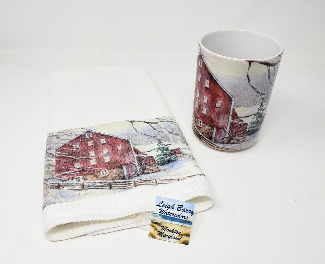 Red Barn Christmas Mug and Tea Towel Set: Winter Mug, Christmas Towel, Tea towel, Christmas Mug, Watercolor Christmas, Snow Coffee Mug