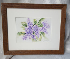 Lilacs: watercolor painting floral print purple flowers home decor wall decor bathroom decor framed art giclee print archival purple floral - Leigh Barry Watercolors