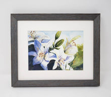 Load image into Gallery viewer, White Lilies original watercolor floral painting framed watercolor floral print lily art print lilies painting framed art print Leigh Barry - Leigh Barry Watercolors
