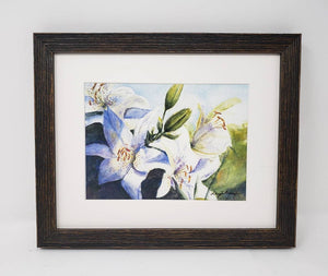 White Lilies original watercolor floral painting framed watercolor floral print lily art print lilies painting framed art print Leigh Barry - Leigh Barry Watercolors