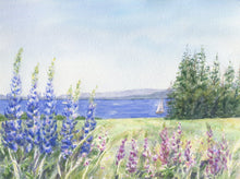 Load image into Gallery viewer, Lupine And The Sea: Maine watercolor painting giclee prints seaside print Maine painting Maine art wall decor watercolor painting - Leigh Barry Watercolors