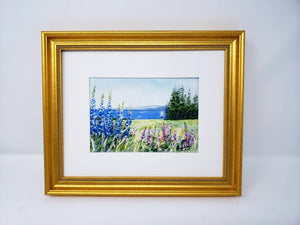 Lupine And The Sea: Maine watercolor painting giclee prints seaside print Maine painting Maine art wall decor watercolor painting - Leigh Barry Watercolors