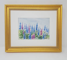 Load image into Gallery viewer, Lupine watercolor framed floral print lupine painting Maine painting framed lupine print framed wall decor bedroom wall decor colorful art