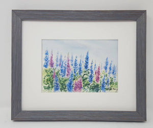 Lupine watercolor framed floral print lupine painting Maine painting framed lupine print framed wall decor bedroom wall decor colorful art - Leigh Barry Watercolors