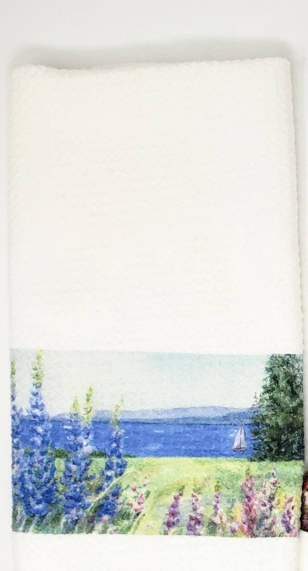Lupine And The Sea Tea Towel: lupine tea towel lupine kitchen towel, lupine painting, Maine gift, Maine decor, cottage decor lupine art gift - Leigh Barry Watercolors