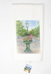 Nantucket Tea Towel Nantucket Main Street fountain kitchen towel Nantucket art Nantucket gift Cape Cod kitchen towel cottage kitchen decor - Leigh Barry Watercolors
