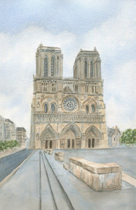 Notre Dame Cathedral Paris France original watercolor painting Paris art framed Notre Dame painting print Paris landscape art France art - Leigh Barry Watercolors