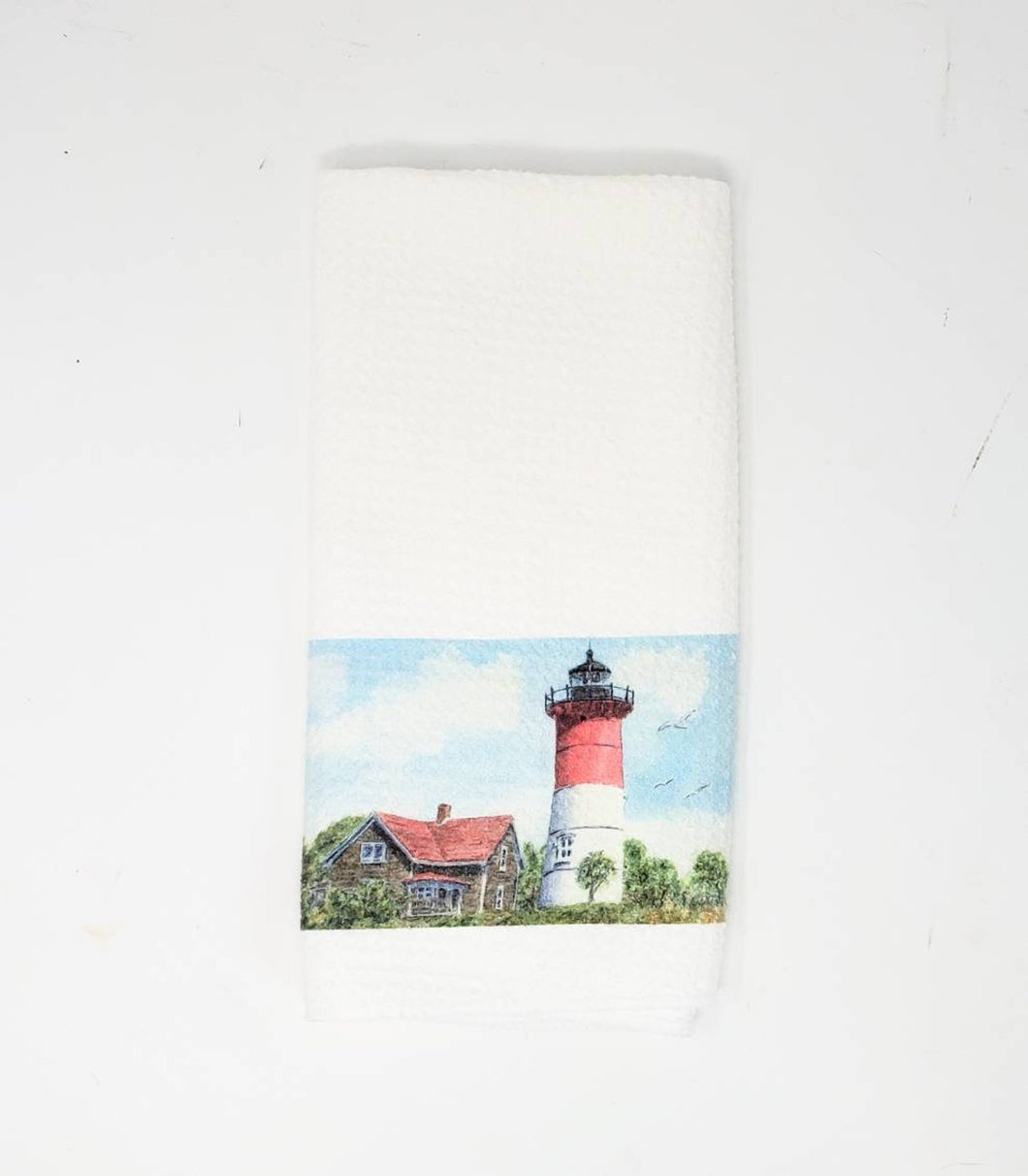 Nauset Lighthouse tea towel Nauset Light painting New England lighthouse art kitchen decor Cape Cod lighthouse painting watercolor cottage - Leigh Barry Watercolors
